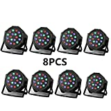 XPC 18 X 3W LED DJ Par Lights 54W RGB PAR64 DMX512 For Stage Party Show Dj Stage Lights for Birthday Party stage lights (8Pack) (8PCS)