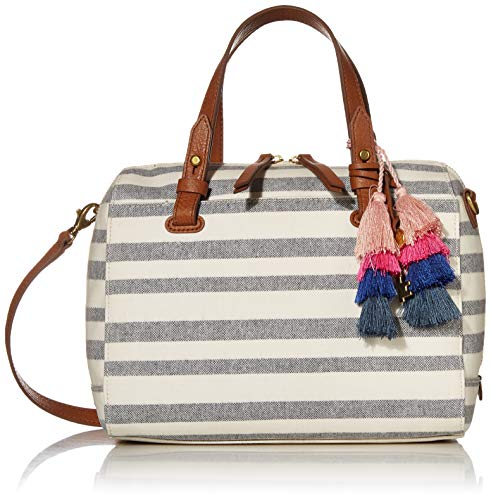 Fossil Women's Rachel Fabric Satchel Handbag, Navy Stripe,10'L x 5.75'W x 8'H