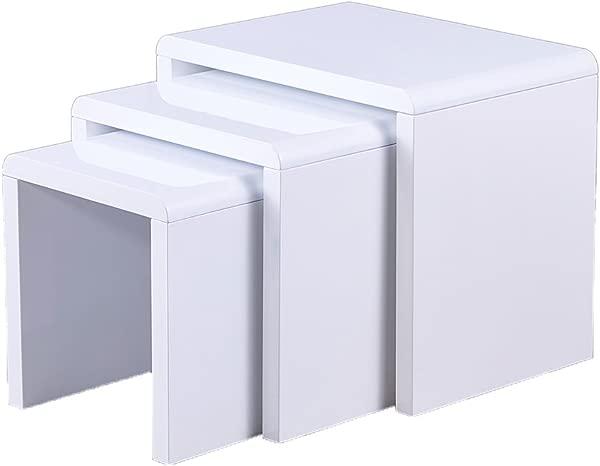 Remsoft 3 套嵌套端桌方形咖啡鸡尾酒桌亮面白色