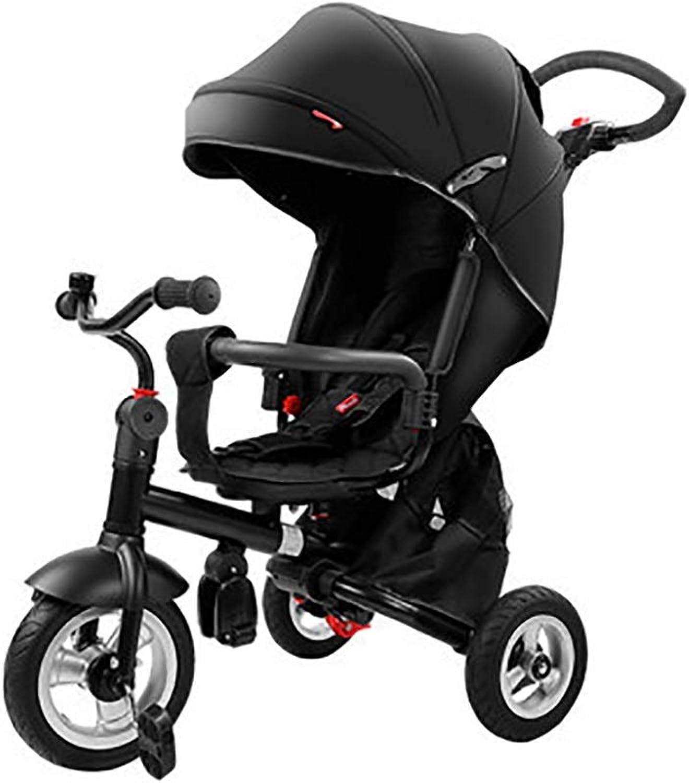 NBgy Dreirad, Kinder-Multifunktions-Dreirad Sonnenschutzdesign, 2-6 Jahre Altes Baby-Dreirad Sitz Kann Gedreht Werden, Schwarz
