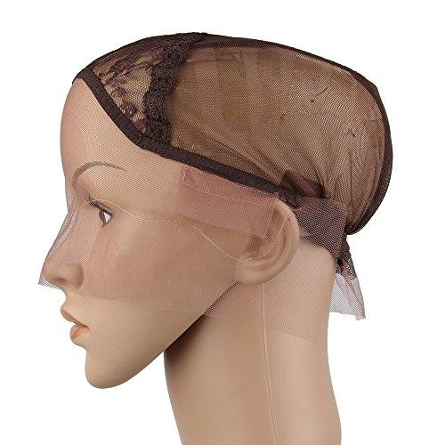 Beauty7 Wig Cap Marron Capuchon Casquette de Base avec Sangle Reglable Chapeau pour Bricolage Extension de Cheveux Crochet Tissage Filet A Cheveux Bonnet Perruque Deguisement Mesh Dome Cap