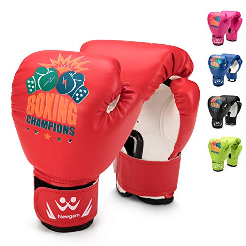 Newgam Kids Boxing Gloves, Children Junior Sparring Kickboxing Training Gloves,Junior Punch Bag MMA Training Muay Thai Mitts - PU Leather - 5oz for 3 to 14 YR (Red2)