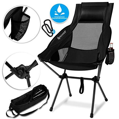 Kesser® Campingstuhl faltbar klappbar mit hoher Rückenlehne tragbar Angel Stuhl Camping Stuhl Faltstuhl bis 120 kg Strandstuhl Angelstuhl Klapphocker mit Getränkehalter, Outdoor Stuhl, Schwarz