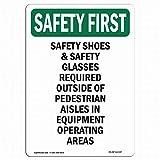 Señal de seguridad mefoll OSHA Safety First Sign – Zapatos de seguridad y gafas de seguridad, señal de estaño de 12 x 16 pulgadas