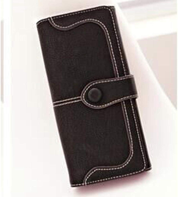 Girls Purse Women's Wallet Large Solid color 30 Percent Buckle Female Hand Bag BigCapacity Fashion Vintage Wallet (color   D)