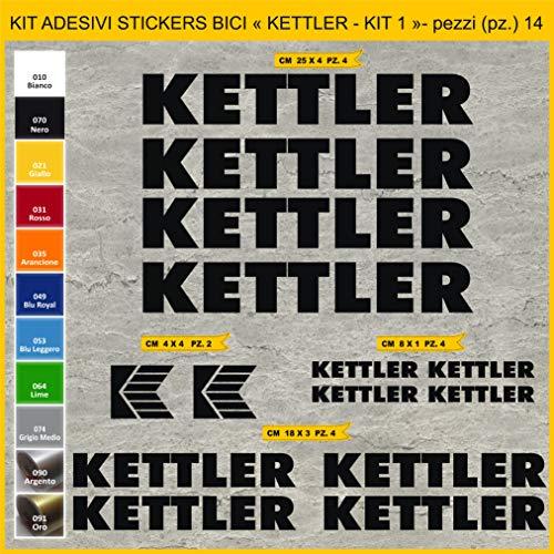 Adesivi Bici KETTLER -Kit 1- Kit Adesivi Stickers 14 Pezzi -Scegli SUBITO Colore- Bike Cycle pegatina cod.1030 (070 Nero)