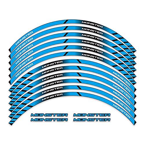 bazutiwns Pegatinas de estilo de rueda reflectante Pegatinas traseras delanteras Pegatina de adhesión alta adhesión Impermeable Calcomanías de llanta Compatible con Ducati Monster 696 797 821 795 HSLL