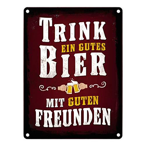 trendaffe - Gutes Bier mit Freunden Blechschild in 15x20 cm - Trink EIN gutes Bier mit Guten Freunden Metallschild Dekoschild