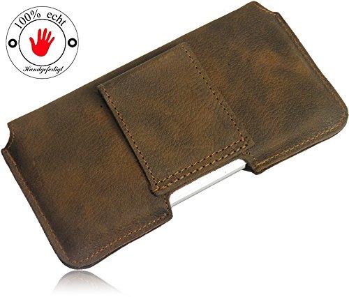 Matador Echt Leder Tasche Case Hülle Handytasche Gürteltasche Quertasche für Huawei Ascend W1 in Antik Tobacco Vintage Style mit verdecktem Magnetverschluß und Gürtelschlaufe - 3