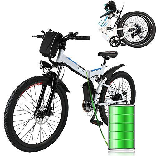 Eloklem 26  Bicicletta elettrica Biciclette elettriche da Montagna per Uomo Donna Adulti con 250W Batteria Rimovibile 36V   8AH, Bici elettrica, Fino a 32 km h Professionali a 21 velocità (Bianca)