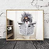 Refosian perro leyendo periódico arte de la pared divertido perro impresión peculiar perro colgante de pared cuadro lienzo pintura baño decoración del hogar 30x40 cm sin marco
