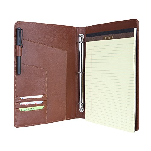 Ultra Slim 3 Ring Binder Portfolio Case ,Full-Grain Leather with Clipboard for Organizing Loose Documents Business Organizer