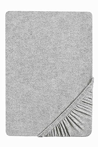 biberna 0841380 Spannbetttuch Melange-Flanell (Matratzenhöhe max. 22 cm) 1x 90x190 cm > 100x200 cm sturmgrau