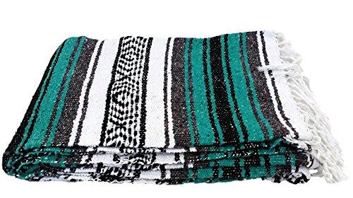 Open Road Goods mexikanische Decke, ideal als Stranddecke, Campingdecke, Picknickdecke, Yoga-Decke oder Yoga-Nackenrolle Handgewebt, Türkis Blaugrün, XL