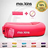Mockins Inflatable Lounger Air Sofa Perfect for Beach Chair Camping Chairs or Portable Hammock and Includes Travel Bag Pouch and Pockets | Easy to Use Camping Accessories -Pink Color