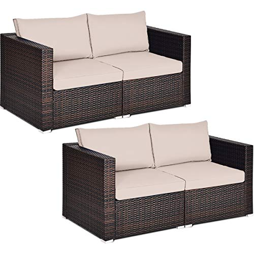 Tangkula 4 PCS Outdoor Wicker Corner Sofa Set, Patio Rattan Loveseat w/Removable Cushions, Sectional Sofa Set Additional Seats for Balcony Patio Garden Poolside (Brown)