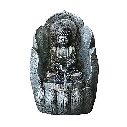 JIEZ Fuente de Buda para Interiores y Exteriores, Cara de Buda, Fuente de Agua Zen, Escritorio, Estatua de Buda de la Suerte, Fuente de Agua, decoración del hogar