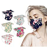 50 Pack Spring flowers Face_Masks with 3 Layer Face Filter with Elastic Earloop, Breathable with Floral Print for Adult