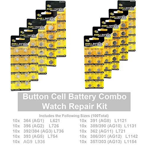 100 pcs Assorted Watch Batteries Alkaline Repair Kit Variety Pack FAST USA SHIP