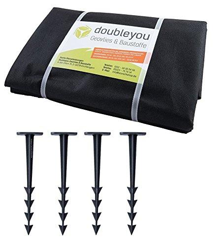 Sandkastenvlies 2 x 2 m schwarz - Schutzvlies für Sandkasten und 4 x Erdanker