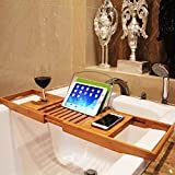 Bamboo Bathtub Caddy Tray Extendable Spa Organizer with Folding Sides Natural Ecofriendly Wood Integrated...