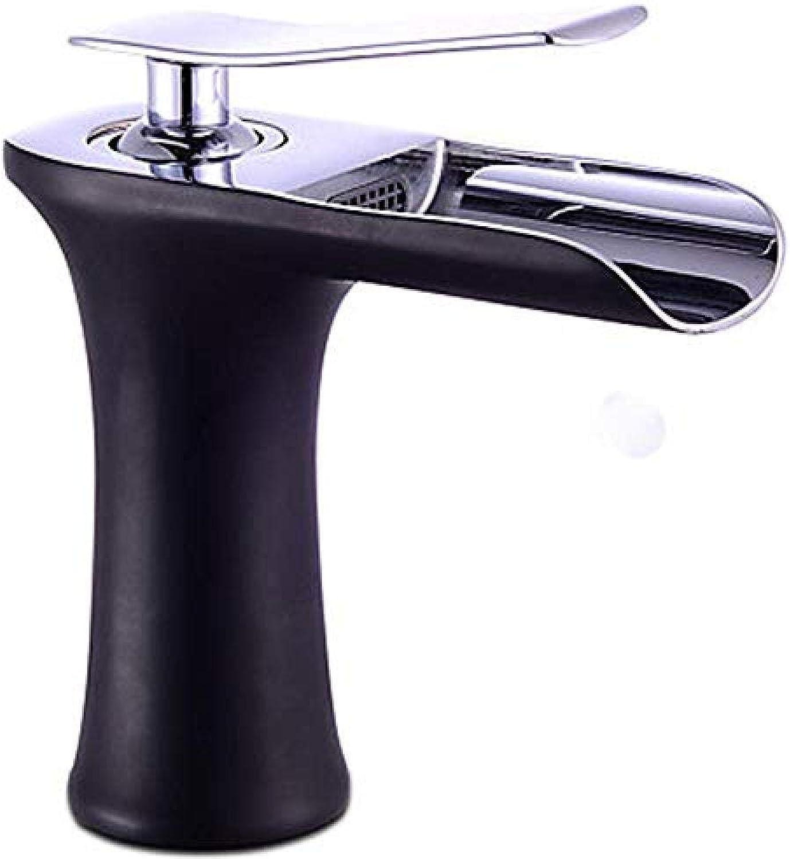 Wasserhahn-Bad Becken Wasserhahn Mischbatterie Einlochmontage Einhand-Cascade-Plattform Schwarz Messing