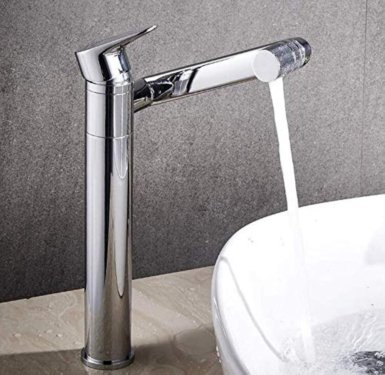 Verchromte Einstellbare Temperaturempfindliche Led-Wasserhahnbadezimmerarmaturen In Messing Verchromt Poliertem Wasserfallbehlterbecken Wasserhahn