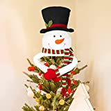 Snowman Christmas Tree Topper with Hat Shawl & Poseable Arms, Seniny Cute Carrot Nose Xmas Snowman Tree Topper for Indoor Christmas Decorations, Holiday Winter Wonderland Tree Topper Party Supplies