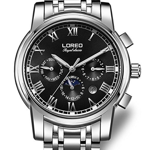 Loreo para hombre automático multifunción reloj de cristal de zafiro resistente al agua de acero inoxidable negro hombre de plata