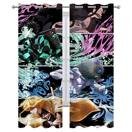 Cortinas de estilo minimalista para dormitorio Sarah Miller Demon Slayer Wip 7 con aislamiento térmico impreso cortina de 72 x 63 pulgadas