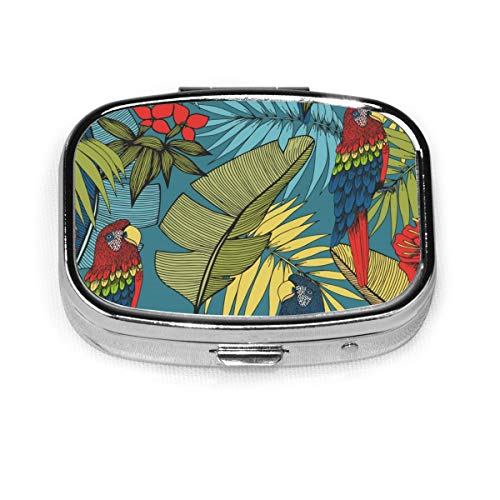 Tropical Plants Colorful Parrot Custom Fashion Silver Square Pill Box Medicine Tablet Holder Wallet Organizer Case For Pocket Or Purse Vitamin Organizer Holder Decorative Box