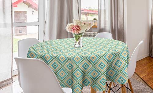 ABAKUHAUS Aqua Rond Tafelkleed, Ruit in het voorjaar van kleuren, Decoratie voor Eetkamer Keuken, 150 cm, Turquoise Geel Wit