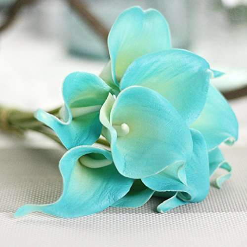 Inverlee 5Pcs Artificial Flowers Rose Floral Fake Flowers Wedding Bridal Bouquet DIY Home Garden Decor (E)