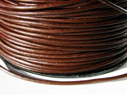 Cordino rotondo in cuoio, 1,5 mm, colore/lunghezza: a scelta, marrone, 5 metri