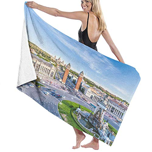 KAYLRR Toallas de baño,City View of The Center Barcelona Spain Panorama Bus Cathedral Fountain Tra,Super Soft,High Absorbent,Large Towel Blanket for Bathroom,Beach or Swimming Pool,52' x 32'