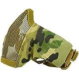 QMFIVE Airsoft Demi Visage Masque, Tactique Sangle élastique réglable et Pliables Demi - Masque Masque de Protection pour Airsoft Maille Paintball CS(Multicam)