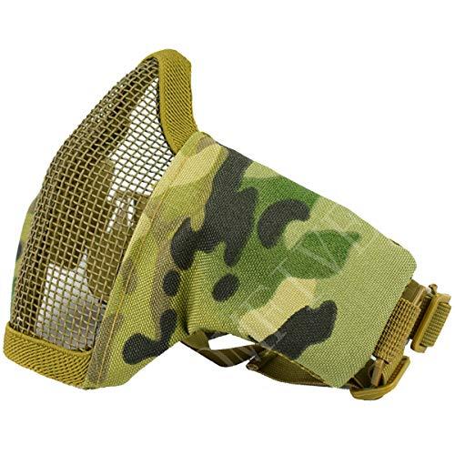 QMFIVE Tactical Maske, Stahl Halbmaske und verstellbare elastische Band Faltbare Half Face Maske Schutzmaske Maske für Airsoft Paintball CS(Multicam)