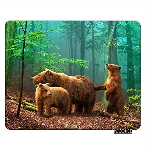Nicokee Bear Gaming Mousepad Brown Bear Family in The Forest Mouse Pad Mouse Mat for Computer Desk Laptop Office 9.5 X 7.9 Inch Non-Slip Rubber