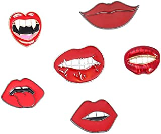 LLYANZ Alloy Metal Enamel Red Color Sex Mouth Brooch and Pin for Girls