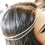 Fstrend Boho Fashion Layered Head Chains Sparking Rhinestone Headband Jewelry for Women and Girls(Silver)