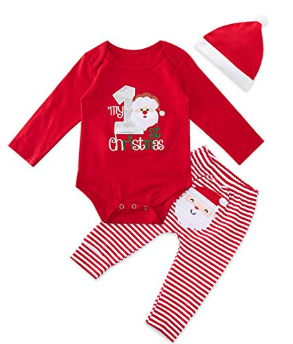 BFUSTYLE Unisex Baby Christmas Deer Stripes Romper 18M Infant Baby My 1st Xmas 3 Pieces Outfit Set Toddler Holiday Casual Clothes Little Boys Girls Long Sleeve PJ Set