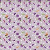 Textiles français 100% Baumwolle Stoff   Papillon Mauve