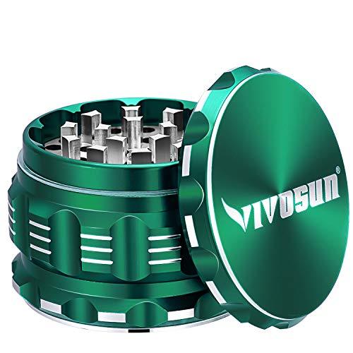 """VIVOSUN 2.5"""" 4 Pieces Herb Grinder Aluminium Spice Grinder with Pollen Scraper Green"""