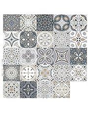 24 stuks tegelstickers in Marokkaanse ,10/15/20cm mozaïek muur tegels zelfklevende mozaïektegels stickertegels DIY decoratie voor keuken badkamer (20x20cm)
