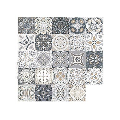 24 adhesivos para azulejos en estilo marroquí, 10/15/20 cm, mosaico de pared, azulejos autoadhesivos, decoración para cocina o baño (10 x 10 cm)