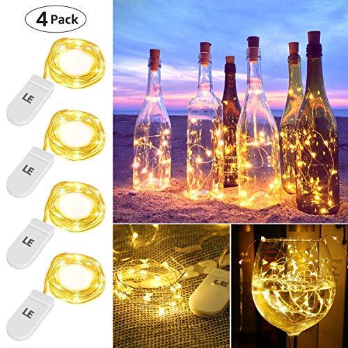 LE LED Lichterkette Batterie 1.2M, 4er 20LEDs Lichterketten aus Kupferdraht, IP65 Wasserdicht Drahtlichterkette für Weihnachten, Party, Innen, Außen, Hochzeit Deko, Warmweiß Weihnachtsbeleuchtung