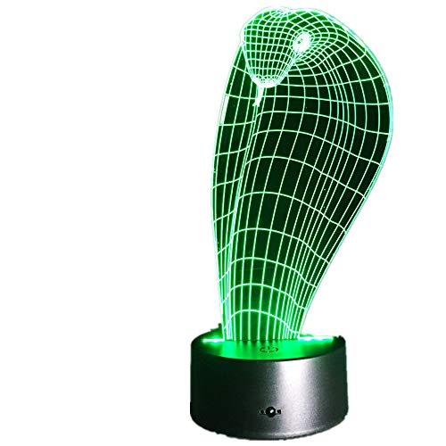 Einhorn Ziege 3D Schlange LED Lampe USB Einhorn Lichter Stimmung Gradienten 7 Farben Ändern Drachen Schreibtisch Nachtnachtlicht Wohnkultur Kinder geschenk Cobra Eine Größe
