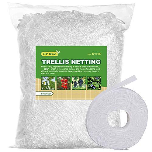 BaseGoal All-Weather Trellis Netting Mesh Plant Garden Vine Growing Flexible String Net (3.5' Mesh ployester, 5' Wx 15'L)