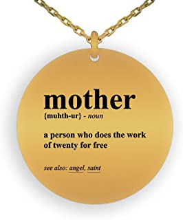 HOM 18K Gold Plated Pendant Necklace Mother's Day Gifts Mother Noun Definition | Gifts for Mom Girls Women Ladies Laser Engraved