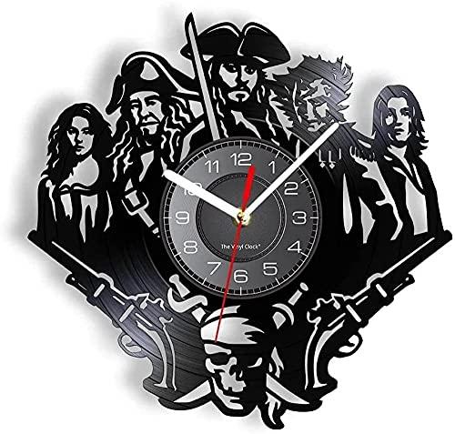 yltian Reloj de Pared con Disco de Vinilo de Personaje Pirata de película, Leyenda de la Aventura, decoración de habitación de película, Regalo silencioso sin garrapatas para Amantes de la Sombra